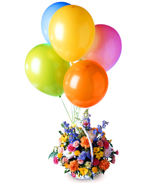 Balloons and Flowers Basket